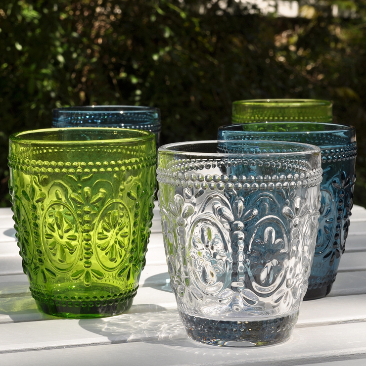 Coloured Pressed Glass Tumblers Furnish Co Uk