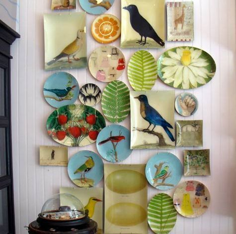 A feature wall of decorative plates on Simply Seleta & Our weekly roundup of interiors blogs - furnish.co.uk