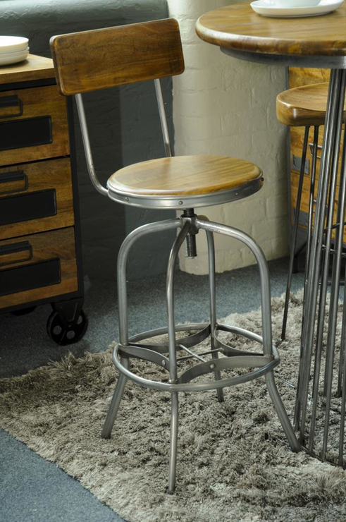 Harlem Industrial High Back Swivel Bar Stool Bar Stools