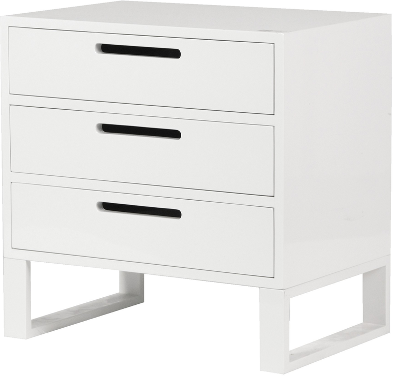 White High Gloss Three Drawer Bedside Table Bedside Tables