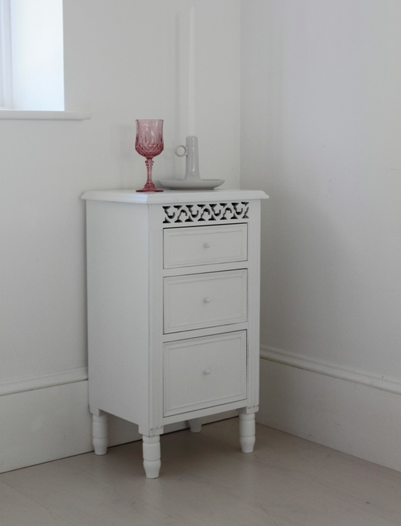 fretwork furniture. unique furniture white fretwork bedside table three drawers intended furniture