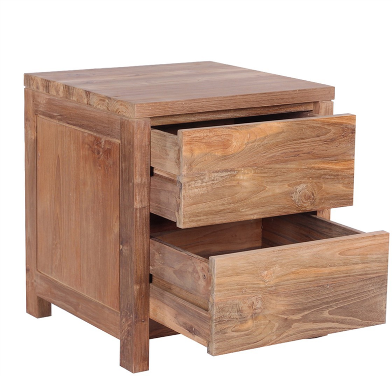 Teak Wood Side Table.The Praya Reclaimed Teak Wood Bedside Table