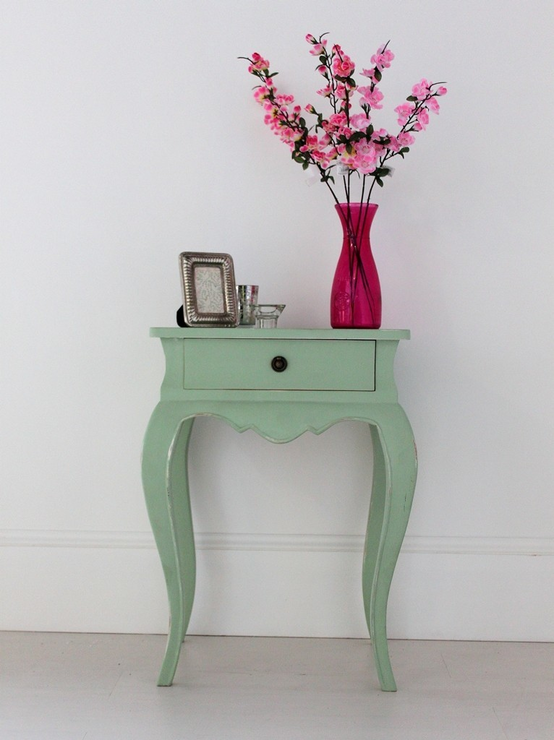 Nice Vintage Green French Bedside Table One Drawer