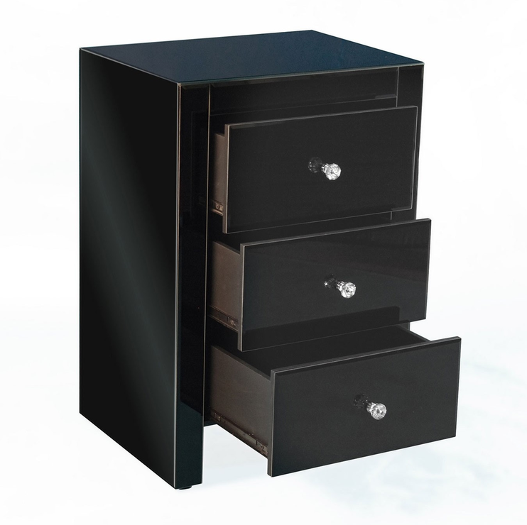 Three Drawer Mirrored Bedside Bedside Tables