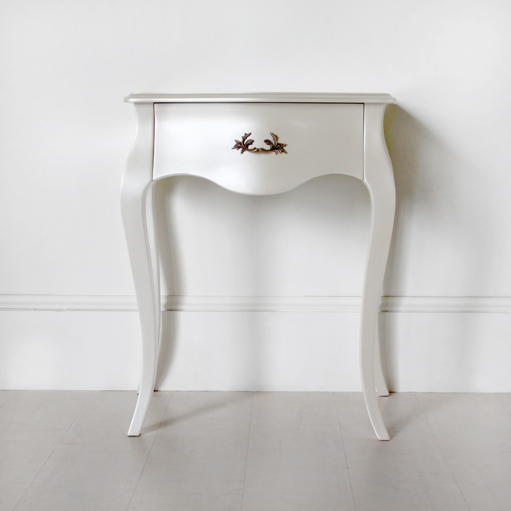 Curvy French Bedside Table One Drawer In Pearlescent Creamy White