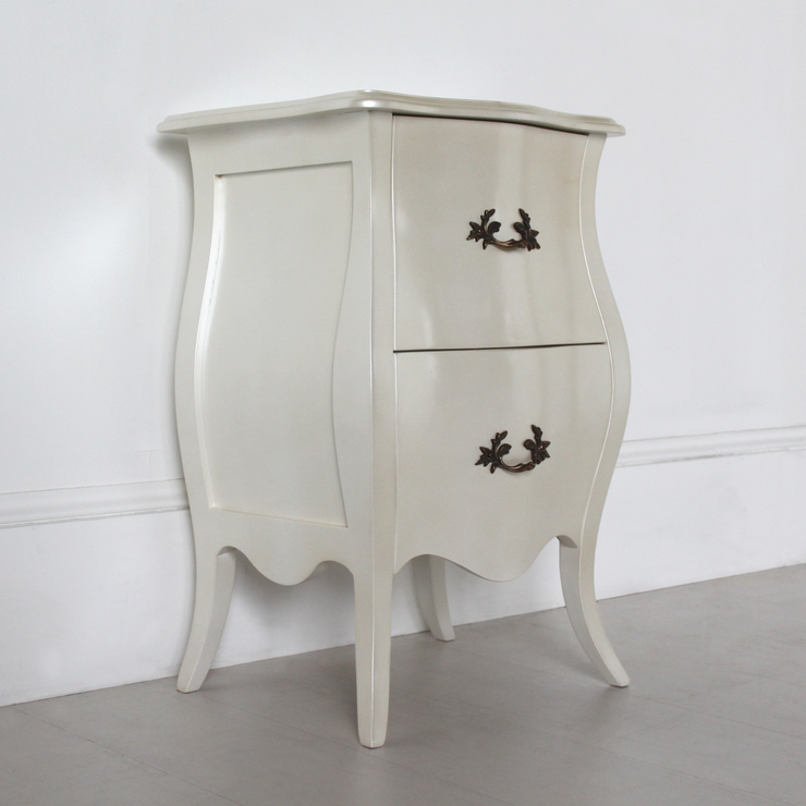 Curvy french bedside table two drawers in pearlescent creamy white curvy french bedside table two drawers in pearlescent creamy white image 2 watchthetrailerfo