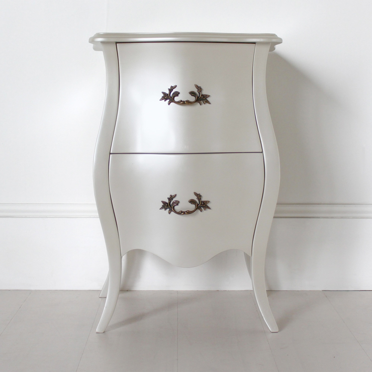 Curvy french bedside table two drawers in pearlescent creamy white curvy french bedside table two drawers in pearlescent creamy white watchthetrailerfo
