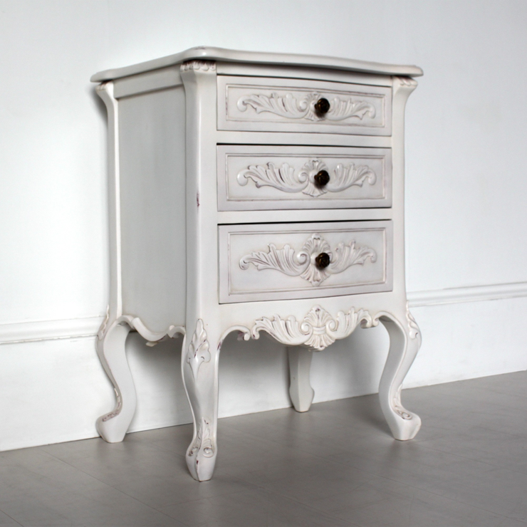 Classic french bedside table three drawers in antique white classic french bedside table three drawers in antique white image 2 watchthetrailerfo