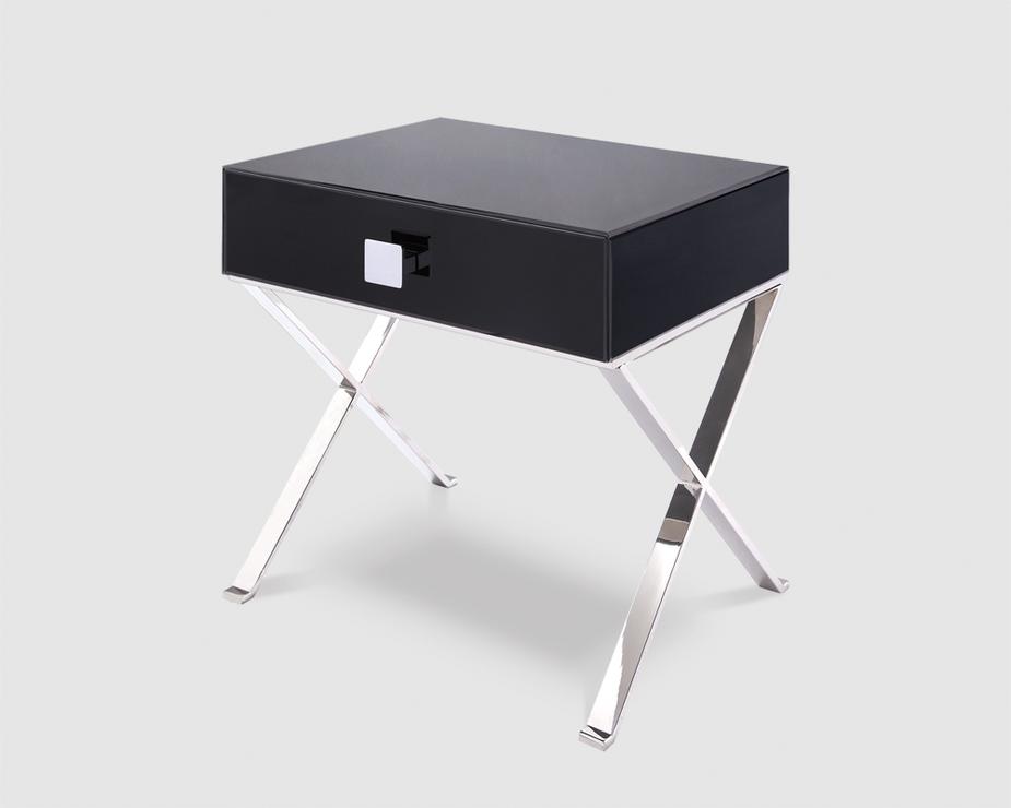 Glass Bedside Table : Richmond Black Glass/Polished S. Steel Bedside Table  Bedside tables