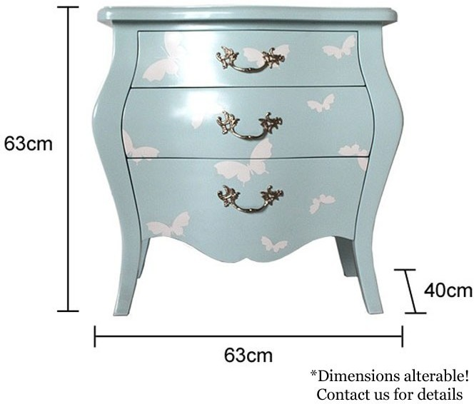 Fresh French Three Drawer Bombe Bedside Table Turquoise Butterfly Design  FT32
