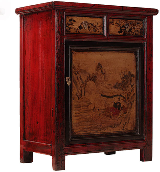 Bon Red Lacquer Painted Side Cabinet