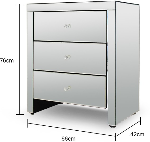 Wide mirrored glass bedside table bedside tables for Mirror bedside table