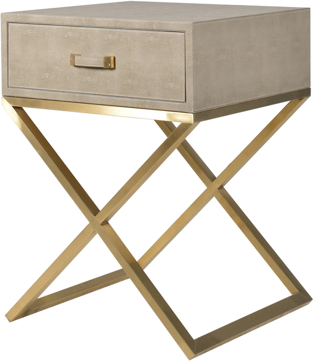 Beautiful Faux Ostrich Leather Bedside Table Contemporary Stainless Steel Frame