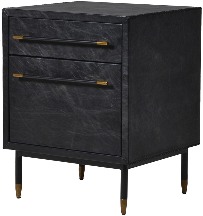 Leather Side Cabinet Contemporary Two Drawers
