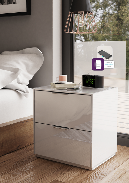 Smart Bedside Table: Smart Pure White Gloss Bedside Chest 2 Drawers With Hidden