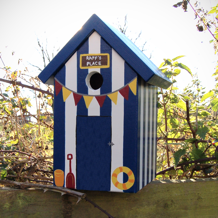 Handmade Beach Hut Bird Box Birdhouses