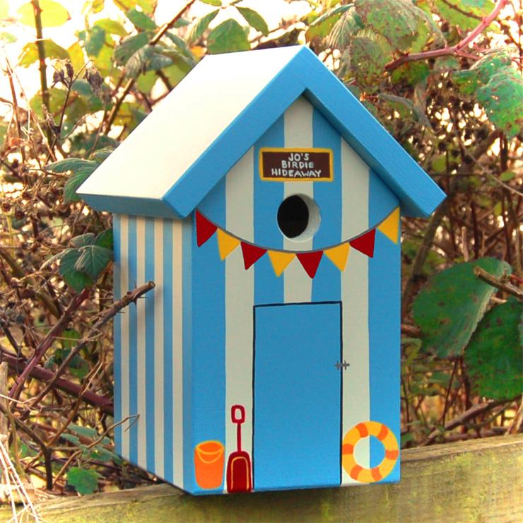 Handmade beach hut bird box birdhouses for Beach hut decoration items