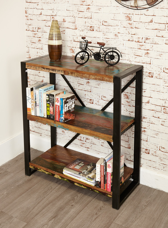 Shoreditch Rustic Low Bookcase Reclaimed Wood Bookcases And Shelves