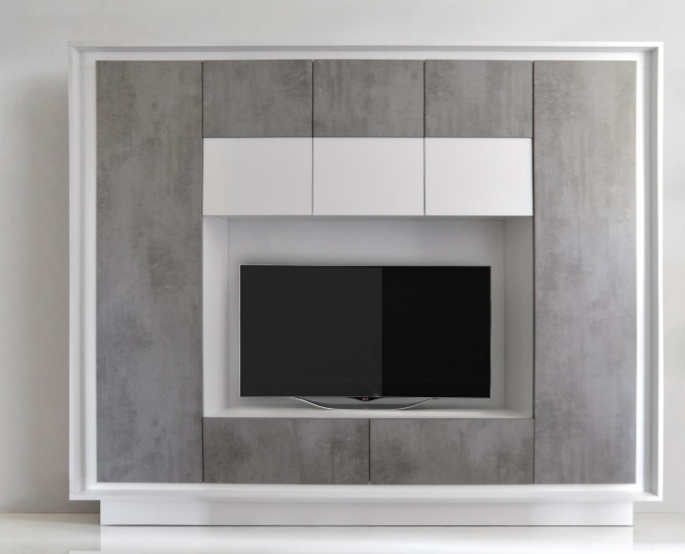 Luna Storage And Tv Wall Unit Matt White And Grey Finish