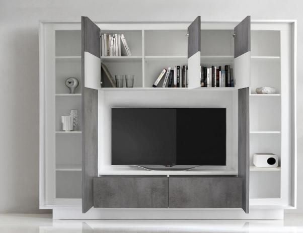 Luna Storage And Tv Wall Unit Matt White And Grey Finish