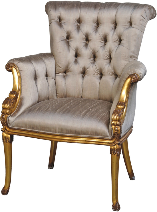 French Gold Chair With Grey Ivory Button Upholstery Chairs