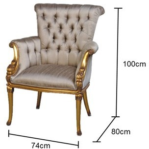 French Gold Chair With Grey Ivory Button Upholstery Image 2