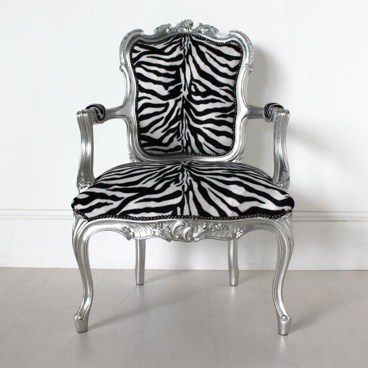 French Zebra Print Chair   Animal Print Chairs Uk. Saxon Queen Anne High  Back Wing