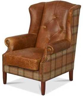 Wing Diamond Button Armchair Leather, Wool or Tweed | Chairs