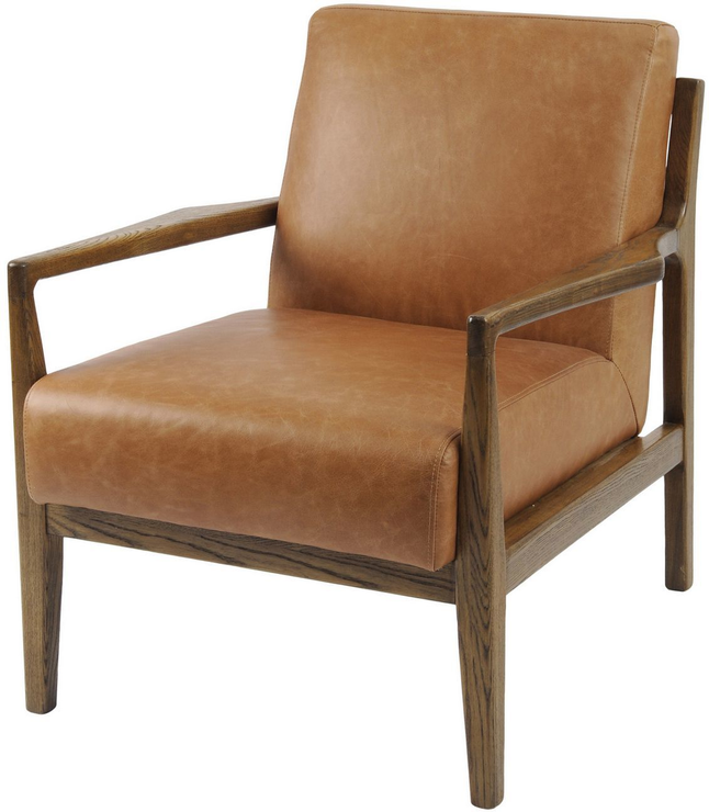 Albury Tan Leather And Wood Occasional, Occasional Chairs With Wood Arms
