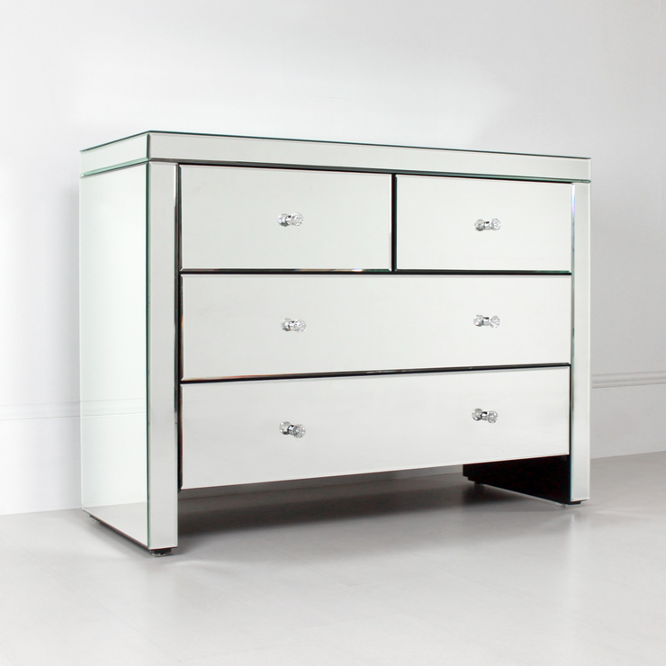 Bedroom Chests Of Drawers: Mirrored Chest Of 4 Drawers
