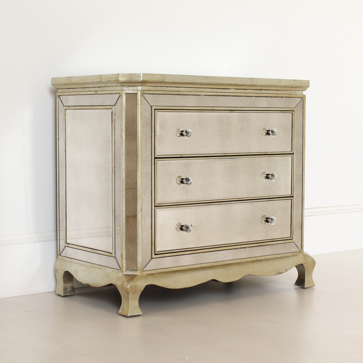 Three Drawer Venetian Chest Antique Glass Bedroom Chests Of Drawers