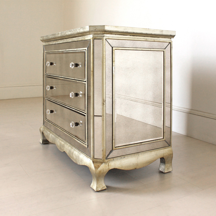 Bedroom Chests Of Drawers: Three Drawer Venetian Chest Antique Glass