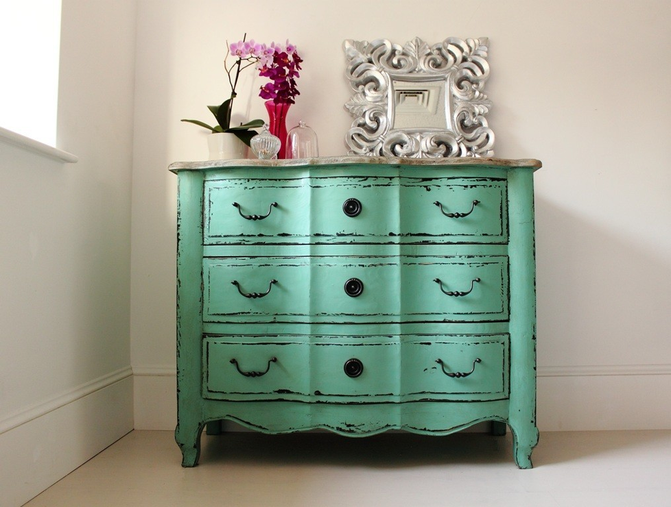 Turquoise chest of drawers three drawer vintage design chests of