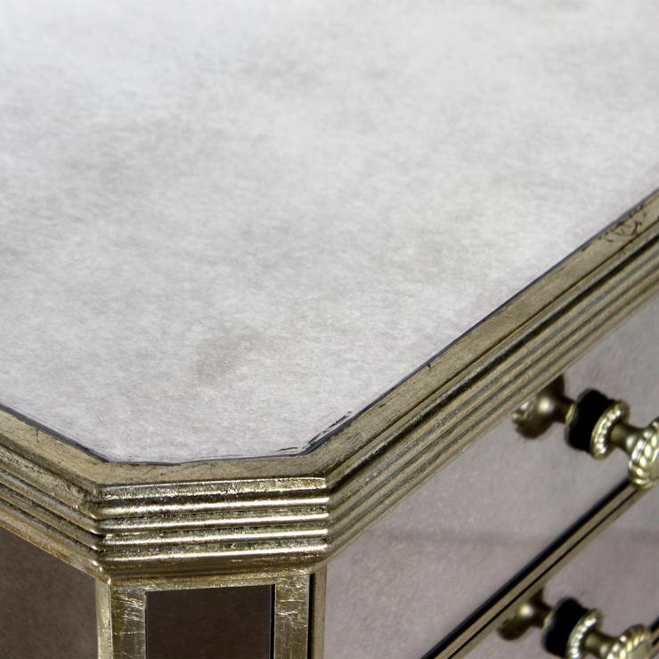 Slim venetian tallboy chest of drawers mirrored finish