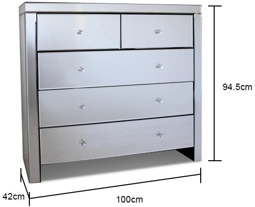 Large Mirrored Chest Of Five Drawers Bedroom Chests Of
