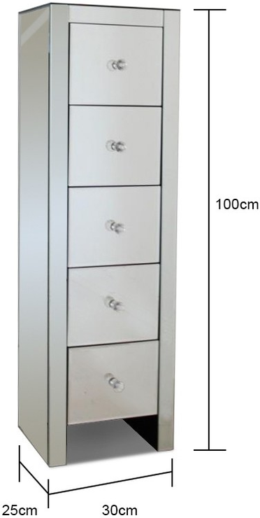 Ultra Thin Mirrored Tallboy Chest Five Drawers