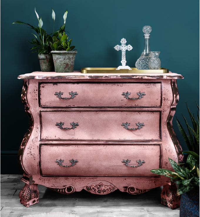 Distressed Black Three Drawer Chest Chunky French-Style | Bedroom ...