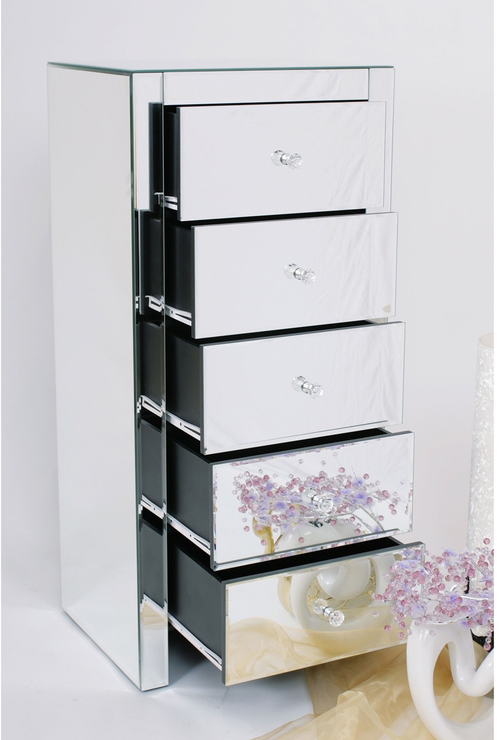 Five Drawer Mirrored Tallboy Bedroom Chests Of Drawers