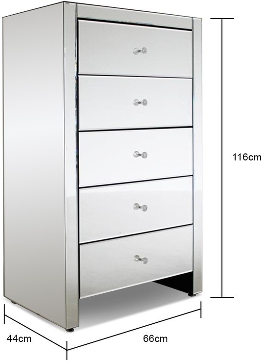 Large Tallboy 5 Drawer Mirrored Chest Bedroom Chests Of