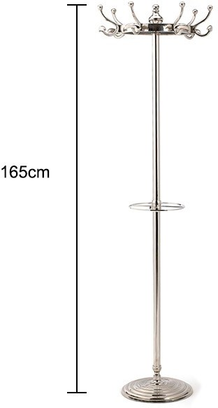 Silver Coat Rack Stand Traditional With Slim Metal Pole By Nordal 57