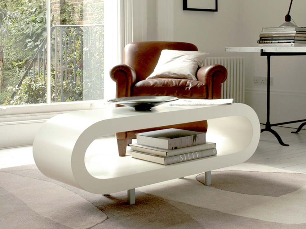 loopy retro coffee table - matt white | coffee tables