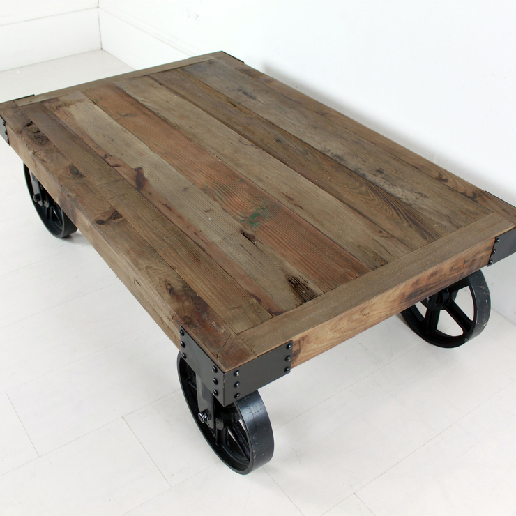 Industrial Coffee Table on Wheels image 3