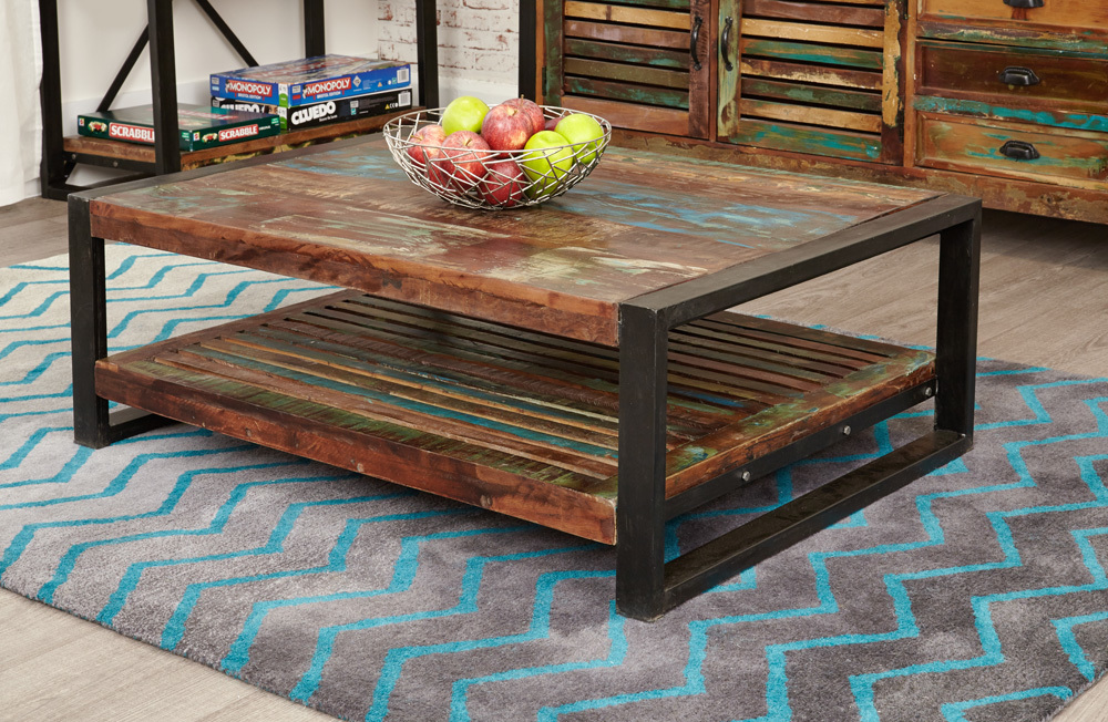 Shoreditch Rustic Rectangular Coffee Table Reclaimed Wood Coffee Tables