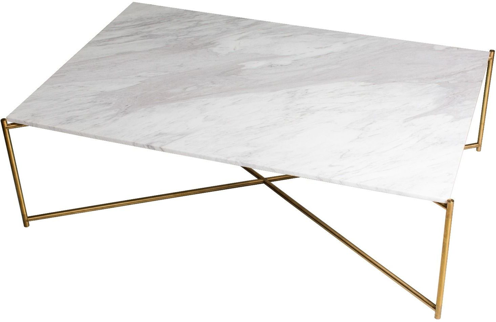 Iris Rectangle Coffee Table White Marble Top Coffee Tables