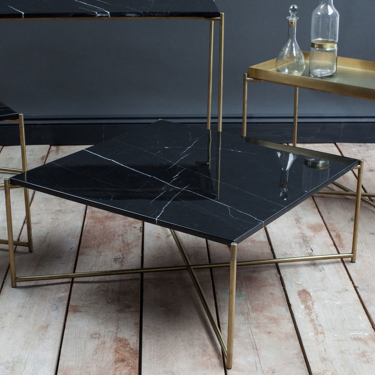 Iris Square Coffee Table Black Marble Top