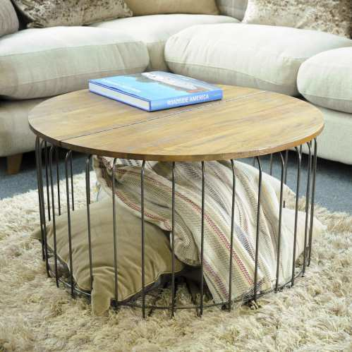 Birdcage Round Coffee Table Vintage Mango Wood And Steel Coffee