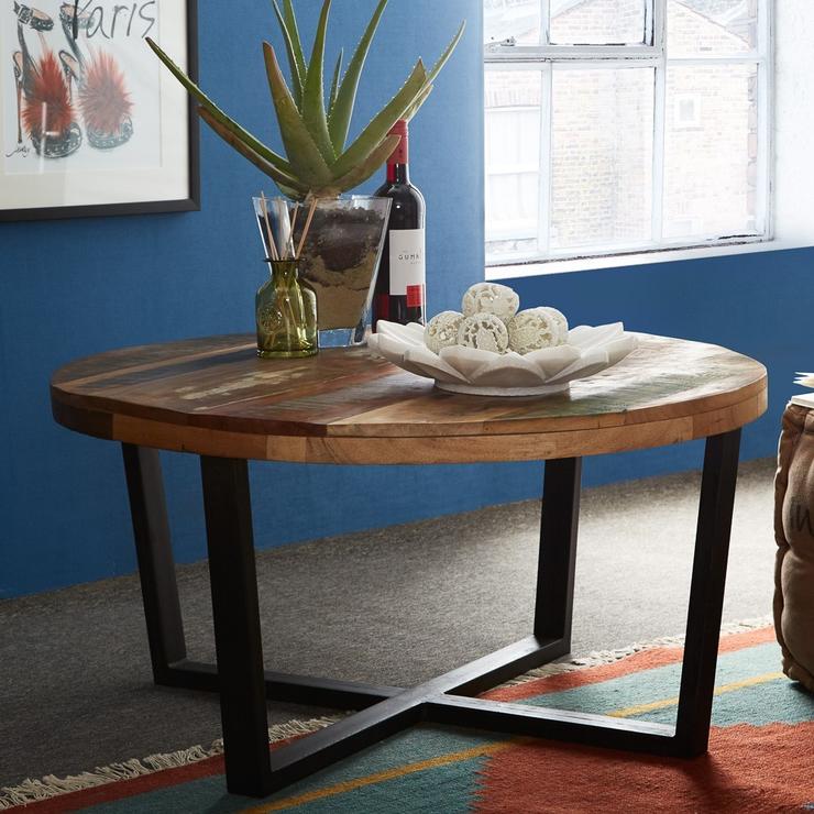 Coastal Round Coffee Table Reclaimed Wood Coffee Tables