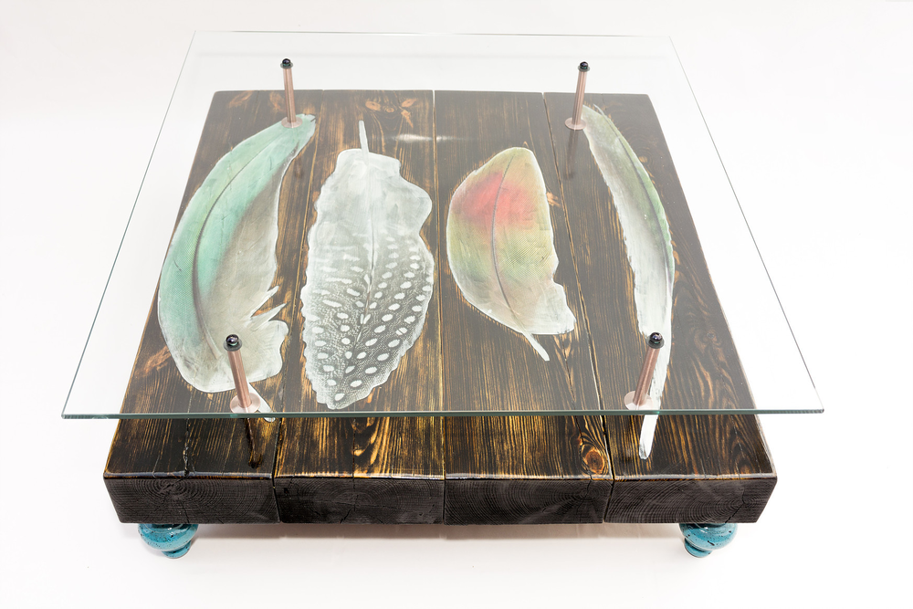 Stupendous Bird Feather Coffee Table With Glass Top Uwap Interior Chair Design Uwaporg