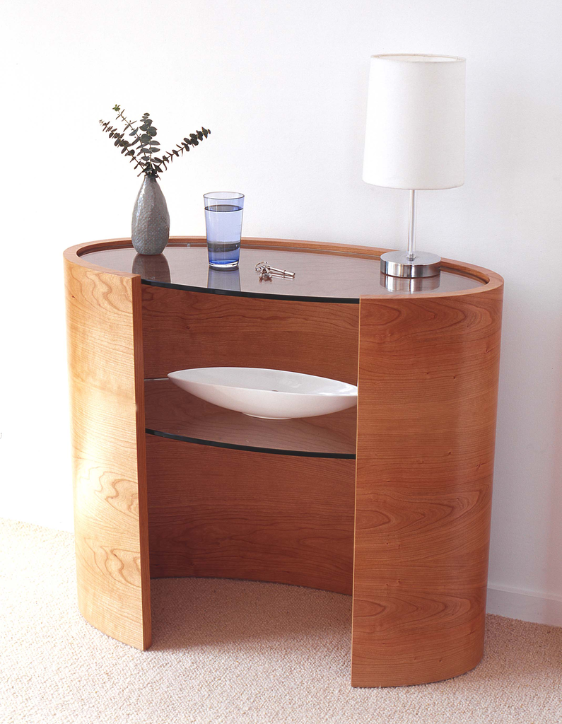 Tom Schneider Ellipse Console Table With Inset Shelves