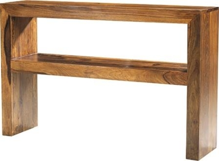 Merveilleux Cube Sheesham Console Table With Shelf